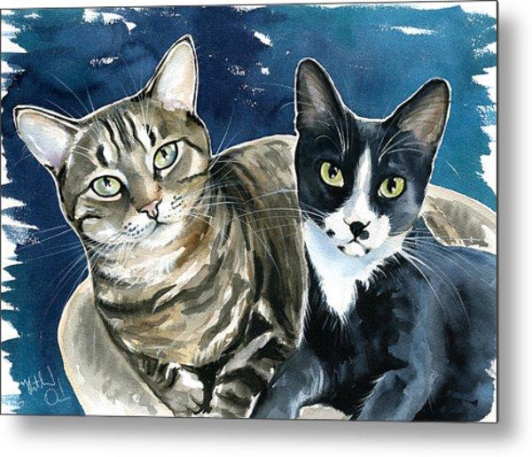 Xani And Zach Cat Painting Metal Print