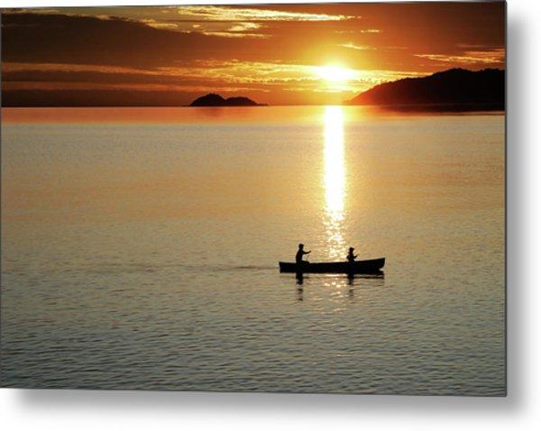 Xl Canoe Sunset Metal Print