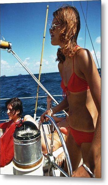 Yachting In The Caribbean Metal Print by Slim Aarons