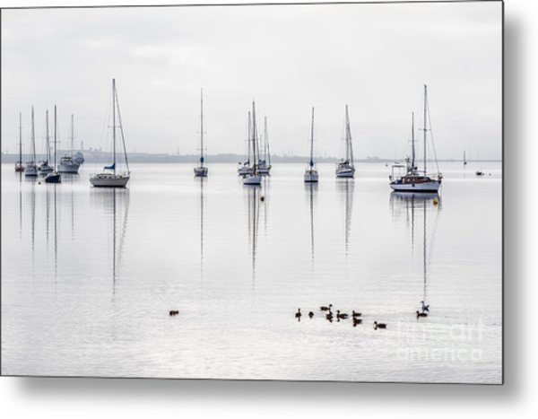 Yachts, And Early Morning Reflection On Metal Print