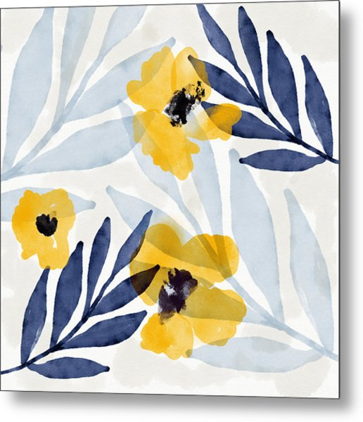 Yellow And Navy 2- Floral Art By Linda Woods Metal Print