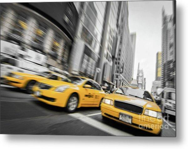 Yellow Cabs In New York Metal Print