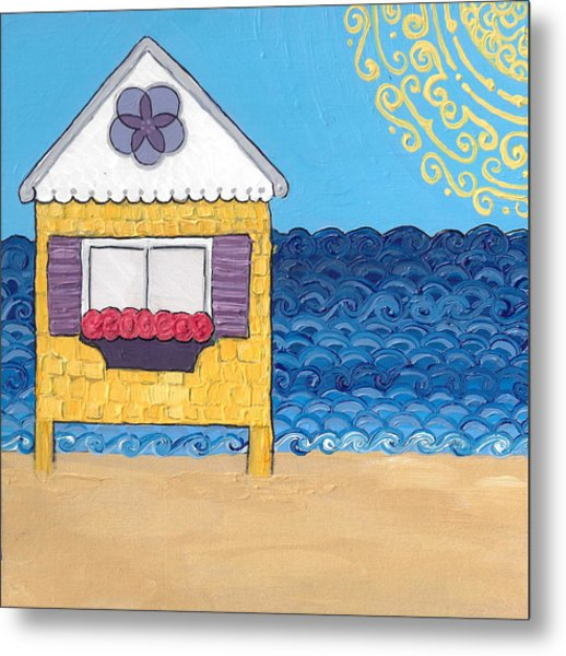 Yellow Cottage On The Beach Metal Print