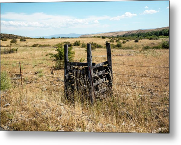 Yellow Grass And Fence Anchor Metal Print