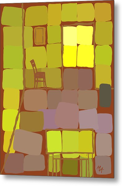Metal Print featuring the digital art Yellow Room by Attila Meszlenyi