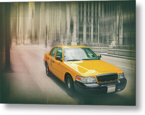 Yellow Taxi Cab Downtown Chicago  Metal Print