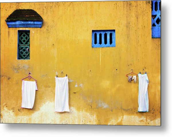 Metal Print featuring the photograph Yellow Wall by Nicole Young