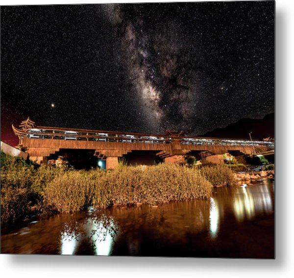 Metal Print featuring the photograph Yonghe Bridge Milky Way by William Dickman