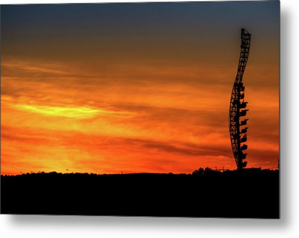 Vertical Roller Coaster At Sunset Metal Print