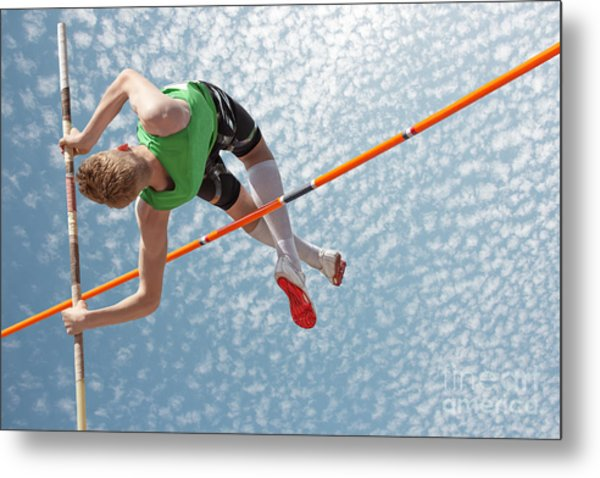 Young Athletes Pole Vault Seems To Metal Print