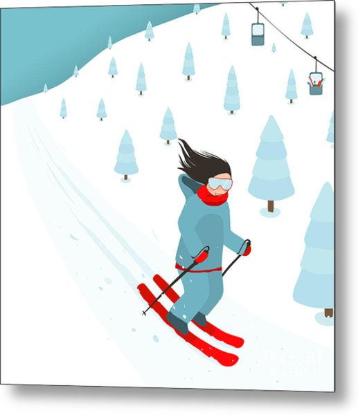 Young Brightly Equipped Girl Slides Metal Print by Popmarleo