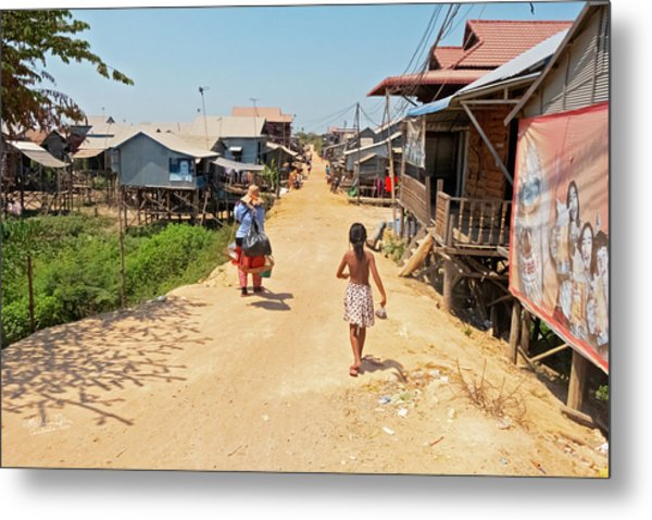 Young Girl Going Home - House On Stilts - Siem Reap, Cambodia Metal Print