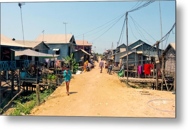 Young Girl - Houses On Stilts - Siem Reap, Cambodia Metal Print