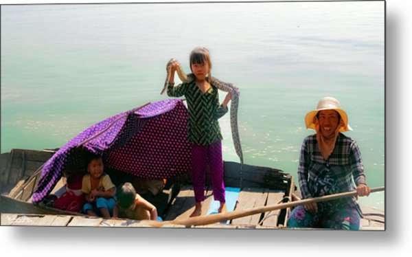 Young Girl With Snake , Cambodia Metal Print