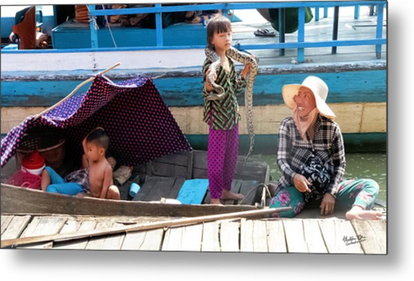 Young Girl With Snake 2, Cambodia Metal Print