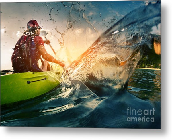 Young Lady Paddling Hard The Kayak With Metal Print by Dudarev Mikhail