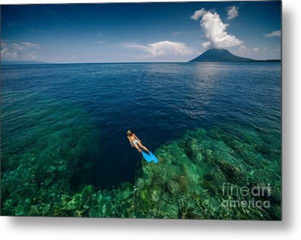 Young Lady Snorkeling Over The Reef Metal Print by Dudarev Mikhail