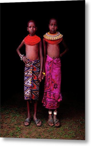 Young Samburu Girls In Traditional Dress Metal Print