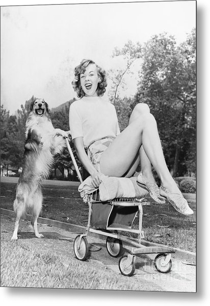 Young Woman And Her Pushy Pet Dog Metal Print