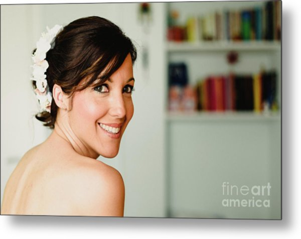 Young Woman From Behind Smiling Metal Print