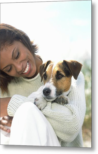Young Woman Holding Jack Russell Metal Print