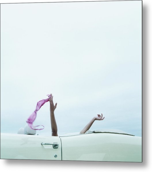 Young Woman In Convertible Car, Arms Metal Print
