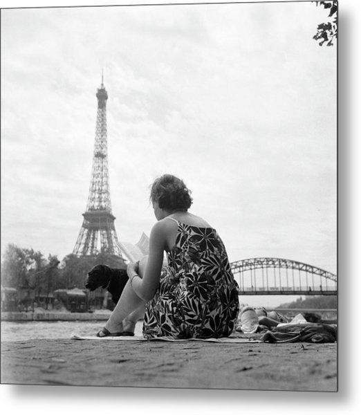 Young Woman Taking In The Sun On The Metal Print by Keystone-france