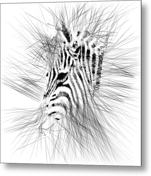 Metal Print featuring the digital art Zebrart by ISAW Company