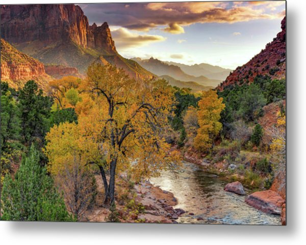 Zion National Park Autumn Metal Print by Leland D Howard