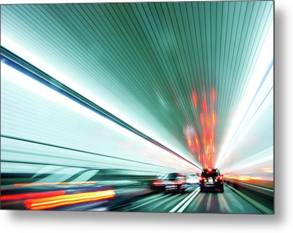 Zipping Through The Holland Tunnel Metal Print by Tanja-tiziana, Doublecrossed Photography