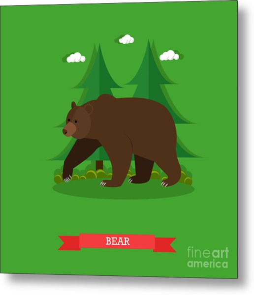 Zoo Concept Banner. Wildlife Bear Metal Print