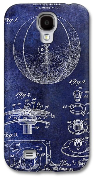 1927 Basketball Patent Drawing Blue Galaxy S4 Case by Jon Neidert