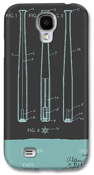 Baseball Bats Galaxy S4 Case -  Baseball Bat Patent From 1924 - Gray Blue by Aged Pixel