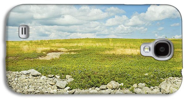 Blueberry Field With Blue Sky And Clouds In Maine Galaxy S4 Case by Keith Webber Jr