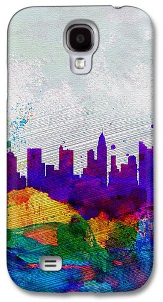 Downtown Galaxy S4 Case -  Columbus Watercolor Skyline by Naxart Studio