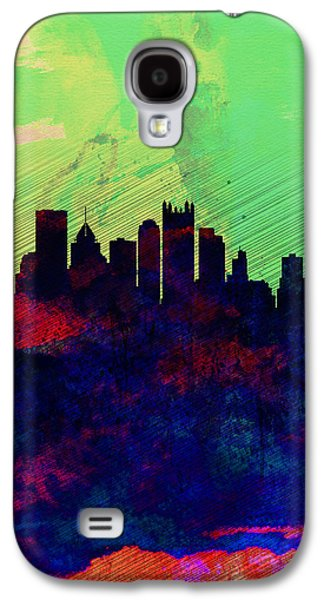 Downtown Galaxy S4 Case -  Pittsburgh Watercolor Skyline by Naxart Studio