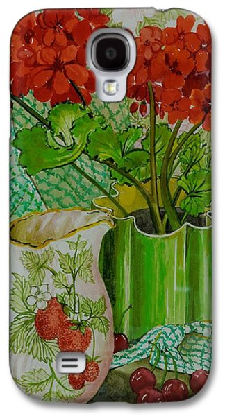 Red Geranium With The Strawberry Jug And Cherries Galaxy S4 Case by Joan Thewsey