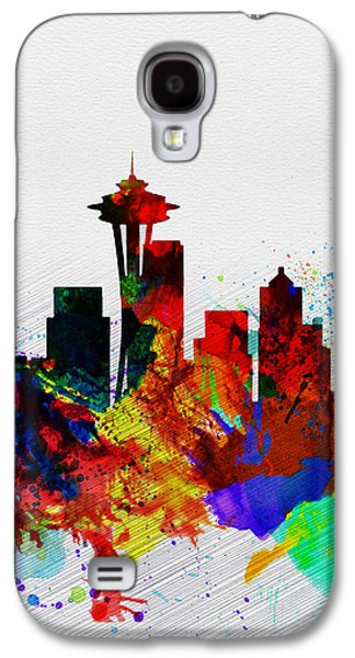 Seattle Watercolor Skyline 2 Galaxy S4 Case by Naxart Studio