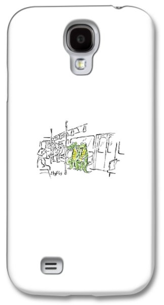 Reptiles Galaxy S4 Case -  Two Alligators Ride The Subway by Sidney Harris