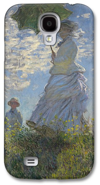 Woman With A Parasol Madame Monet And Her Son Galaxy S4 Case by Claude Monet