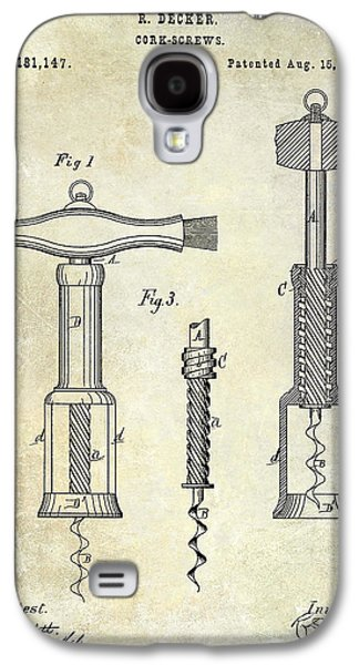 1876 Corkscrew Patent Drawing Galaxy S4 Case by Jon Neidert