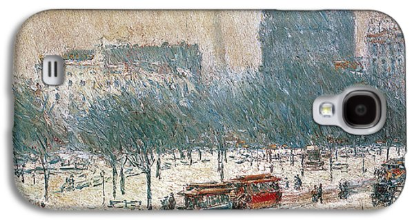 Winter In Union Square Galaxy S4 Case by Childe Hassam