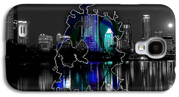 Austin Texas Map And Skyline Watercolor Galaxy S4 Case by Marvin Blaine