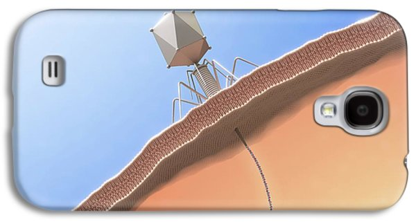 Bacteriophage Infecting E. Coli Bacterium Galaxy S4 Case by Maurizio De Angelis
