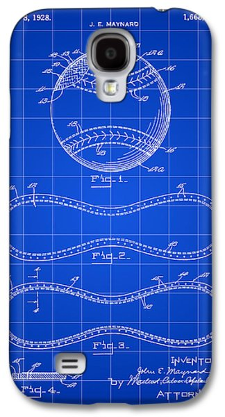 Baseball Patent 1927 - Blue Galaxy S4 Case
