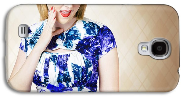 Beautiful Blonde 50s Pinup Woman Expressing Shock Galaxy S4 Case
