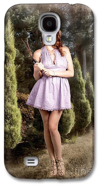 Beautiful Retro Maid With Hedge Clippers In Garden Galaxy S4 Case by Jorgo Photography - Wall Art Gallery