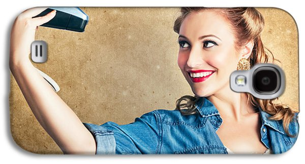 Beautiful Retro Woman Taking Selfie With Camera Galaxy S4 Case by Jorgo Photography - Wall Art Gallery