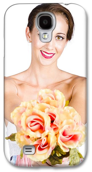 Beautiful Woman Holding Florist Flowers Galaxy S4 Case by Jorgo Photography - Wall Art Gallery
