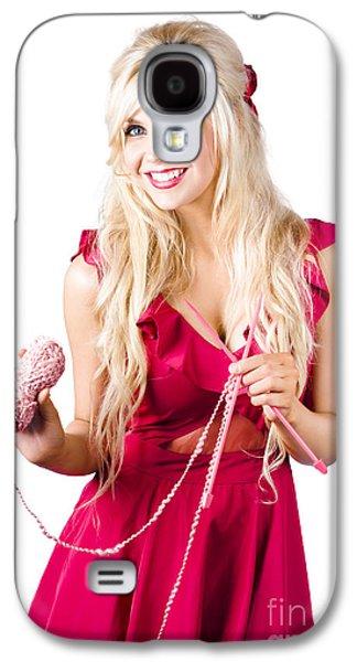 Beautiful Woman Knitting Galaxy S4 Case